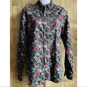Club Monaco Slim Fit,Grey Floral Print,Shirt XS/TP